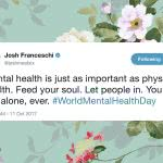 tweet from Josh Franceshi from You Me At Six on a vintage floral background
