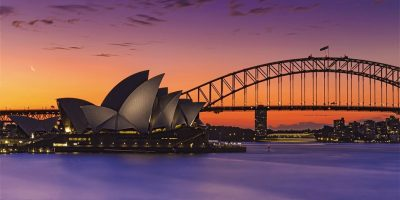 An image of Sydney Harbour, showing the Opera House and Harbour Bridge