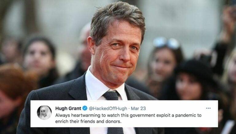 Hugh Grant tweets criticism at government