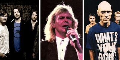 Aussie bands powder finger standing together looking at the camera. John Farnham sining into a microphone. Midnight Oil standing together looking at the camera