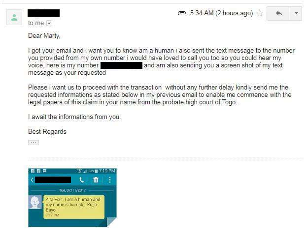 Screenshot of an email sent by Melbourne band ALTA