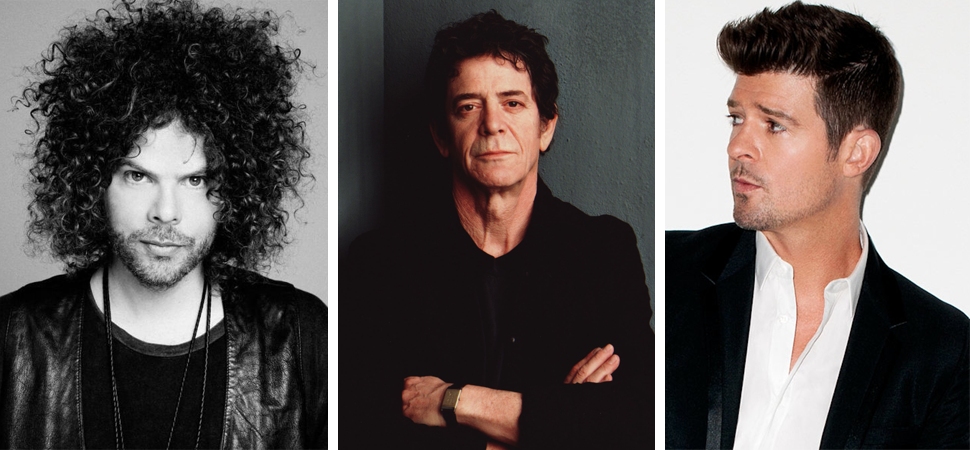 3 panel image featuring Wolfmother's Andrew Stockdale, Lou Reed, and Robin Thicke