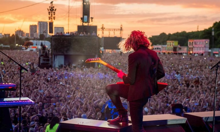 The Killers play to a festival crowd