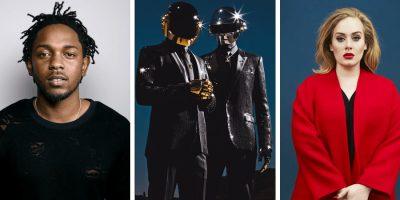 mash 3 panel image featuring Kendrick Lamar, Daft Punk, and Adele