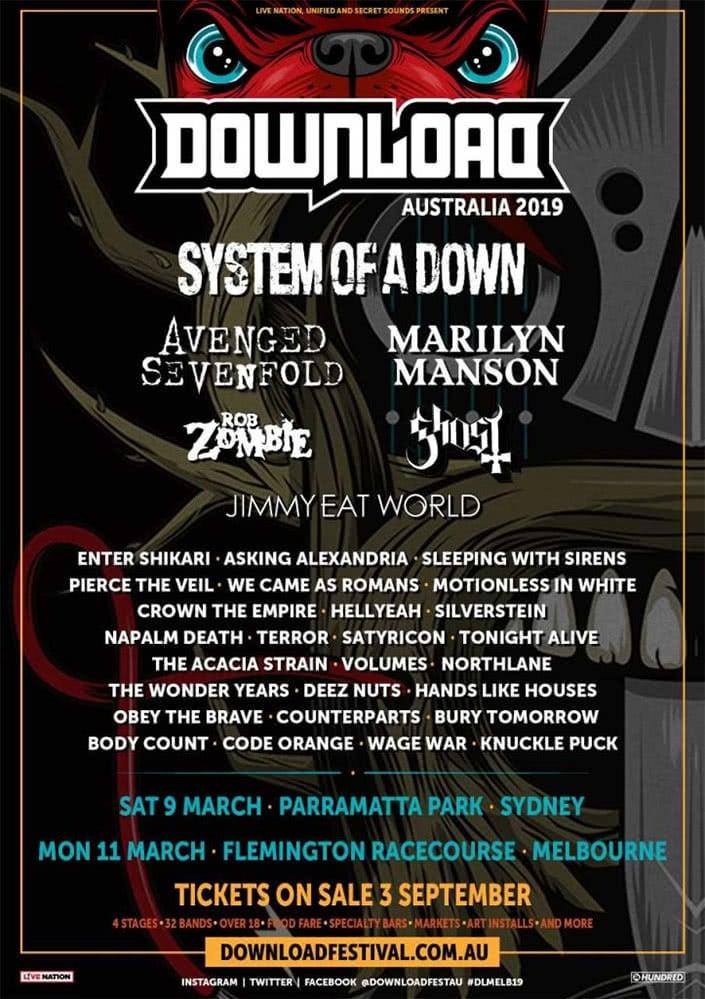 A fake poster for Download Festival Australia 2019