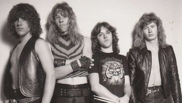 The original Metallica lineup, including Ron McGovney and Dave Mustaine