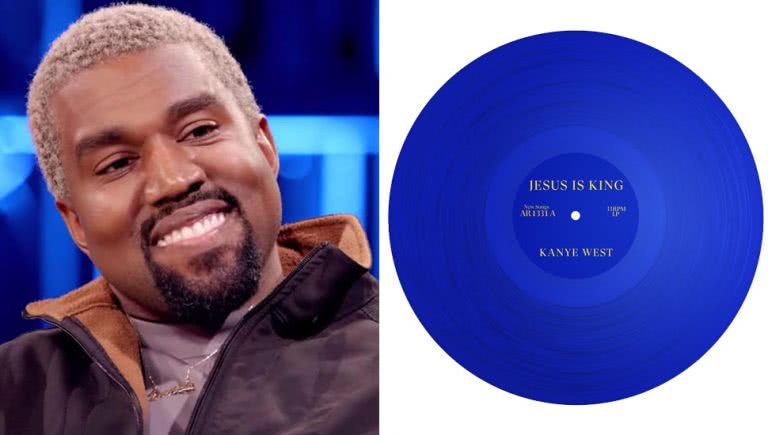 2 panel image of Kanye West and his 'Jesus Is King' artwork