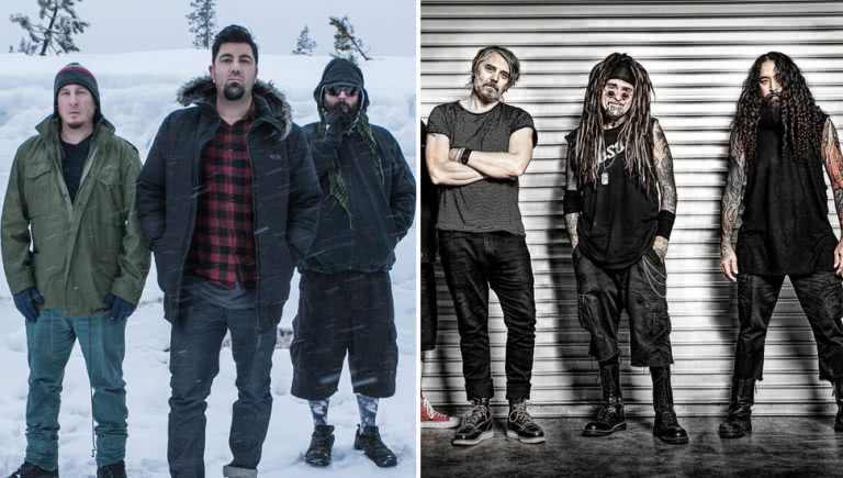 2 panel image of Deftones and Ministry, two artists performing Download Festival sideshows