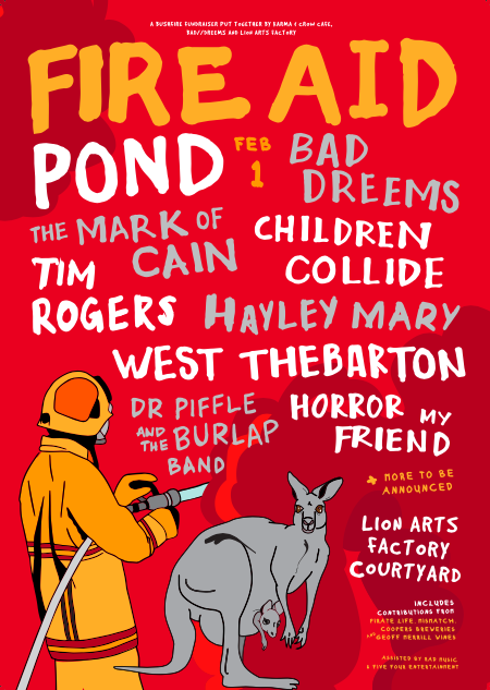 Image of recently-announced bushfire benefit, Fire Aid