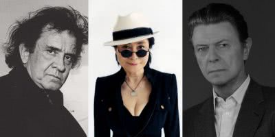 Triple image of Johnny Cash, David Bowie, and Ono for late-career albums