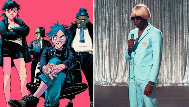 2 panel image of Gorillaz and Tyler, The Creator who are two of the headline acts for Splendour In The Grass 2021