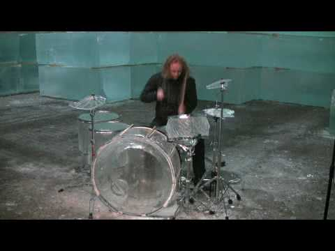 Guy Plays a Drum Kit Made Out Of Ice