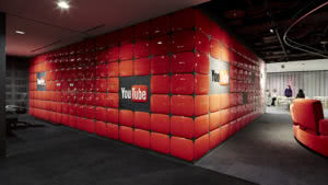 youtube head office padded red wall