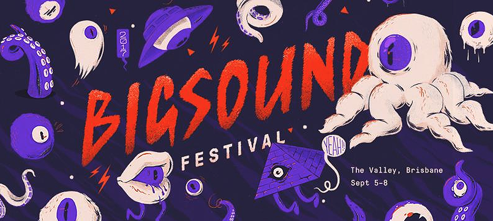 BIGSOUND text in red, purple aliens and octopus legs