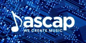 ascap we create music logo with blue computer background