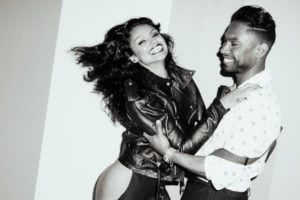 miguel and nazanin mandi photo shoot black and white