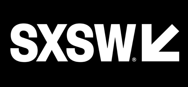 Black and white logo of South By Southwest (SXSW)