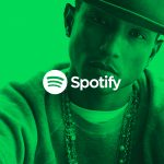 Spotify green logo over pharrell