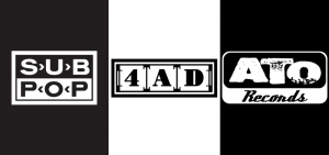 Logos for the Sub Pop, 4AD, and ATO record labels, indpendent label winners at this year's Grammys