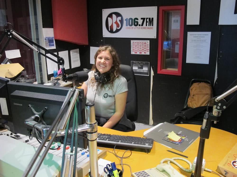 PBS radio host maddy macfarlane in the studio