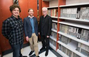 Ben Howe, Michael Brown and Roger Shepherd at the Alexander Turnbull Library