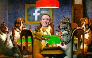 zuckerburg at dogs poker table painting facebook