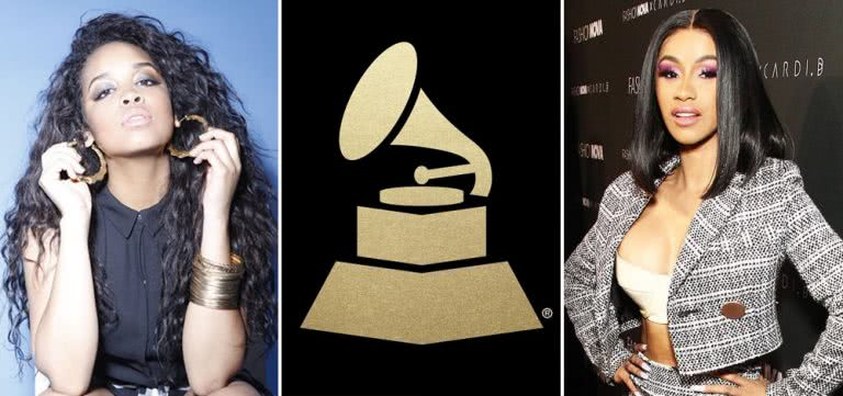 3 panel image of H.E.R., the Grammys logo, and Cardi B
