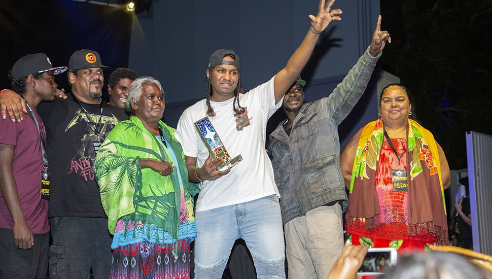 Indigenous musician Baker Boy with his family at the 2018 National Indigenous Music Awards (NIMAs)